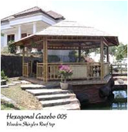 Bamboo Gazebo With Wooden Roof Structure Made Of Bangkiray Wood / Yellow Ballow Wood, Railing Model