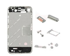 Mirror Metal Middle Plate Cover Buttons Pentalobe Screw And Sim Card Tray For Iphone 4 Silver