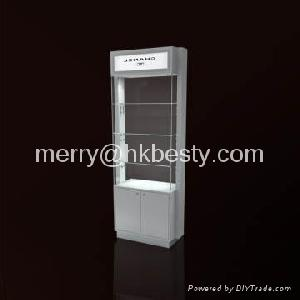 White Glossy Wood And Tempered Clear Glass Jewellery Display Showcase
