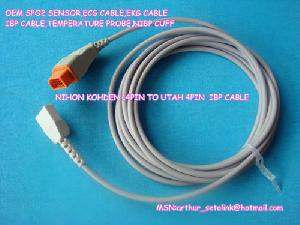 Oem Nihon Kohden 14pin To Utah 4pin Ibp Cable 3.6m