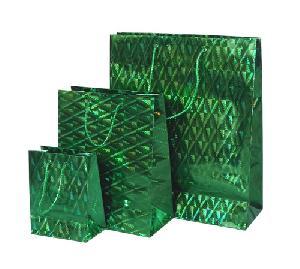 Green 3 Size Set Shinny Shopping Bag