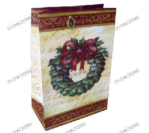 Green Wreath Christmas Paper Bag
