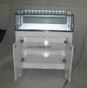 Wooden And Glass Jewelry Display Case, Jewelry Showroom Display Furniture With Led Lighting